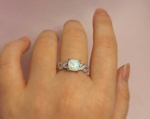 Womens Opal Ring | Opal Band | Sterling Silver Opal Ring Cubic Zirconia | Opal CZ Ring | Women Opal Ring