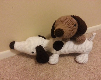 Amigurumi crochet stuffed dog, dachshund,wiener dog, sausage dog, brown, white