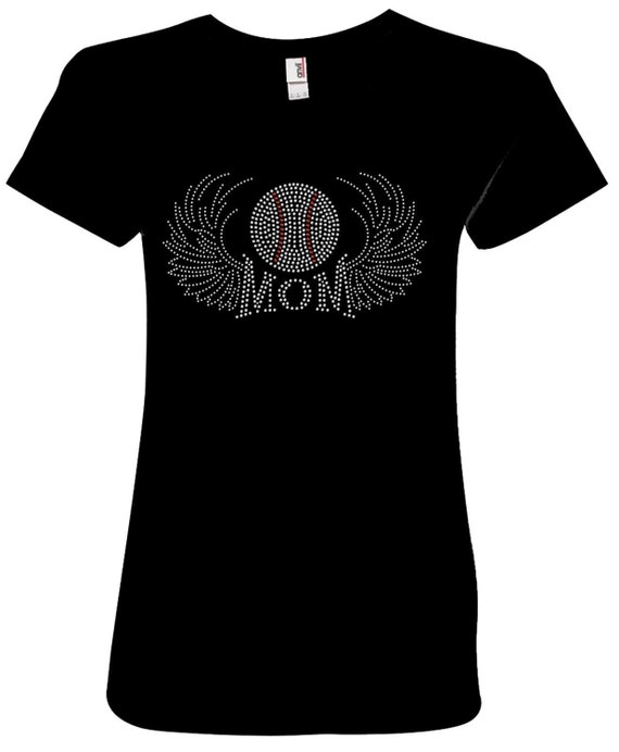 "WOMENS ""BASEBALL MOM WINGS"" RHINESTONE BLING LADIES"