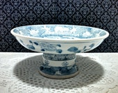 Vintage Compote, Chinese Blue and White Ceramic Pedestal Bowl, Centerpiece, Fruit Bowl, Floral Design