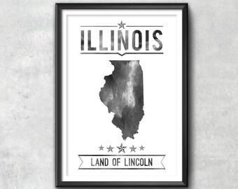 ILLINOIS State Typography Print, Typography Poster, Illinois Poster, Illinois Art, Illinois Gift, Illinois Decor, Illinois Print, Illinois