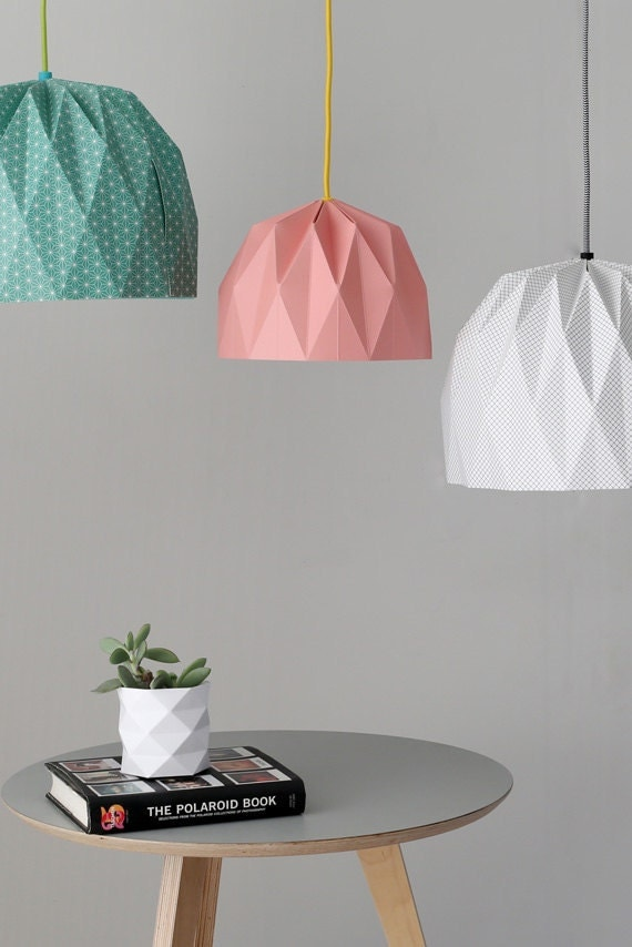 large origami lampshade colored hanging lampshade paper. Black Bedroom Furniture Sets. Home Design Ideas