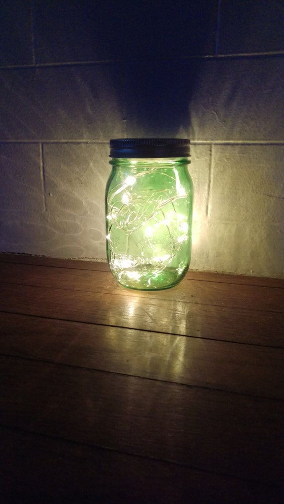 Ball Jar String Lights : GREEN Pint Ball Mason Jar Fairy String Battery Operated