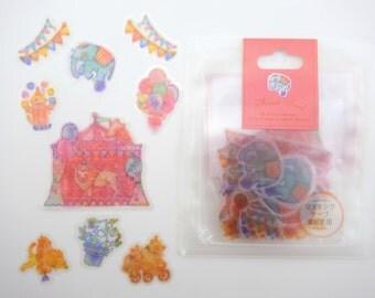 50 Japanese animal circus sticker flakes - kawaii elephant & lion - polar bears on bicycle - juggling monkey - magic hat - banner - balloons