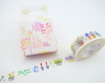 Succulent washi tape - garden tools - Japanese washi tape - plant washi tape - botanical washi tape - plant masking tape - succulent garden