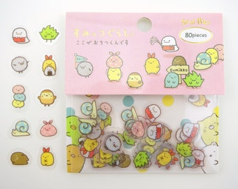 80 Sumikko Gurashi sticker flakes - kawaii stickers - San-X stickers - Japanese stickers - friends of Sumikko Gurashi - cute planner sticker