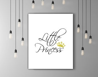 Little Princess Nursery Wall Art, Baby Room Art, Girl Nursery Print, Princess Art Princess Printable Nursery Calligraphy Print Glitter Crown