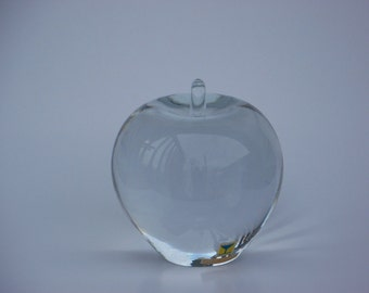 Full Lead Crystal Apple Paperweight Maleras Sweden