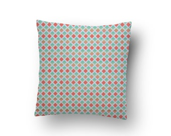 "Coral Mint and Gold Pillow Cover, Mint and Coral Nursery Pillow, Decorative Pillow 16""x 16"""