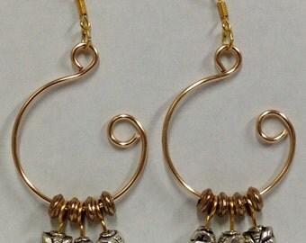 Gold and Silver Open Hoop Earrings