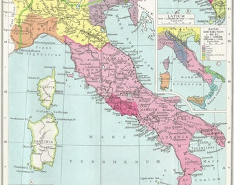 historical  map of italy under the roman republic. historical wall art .