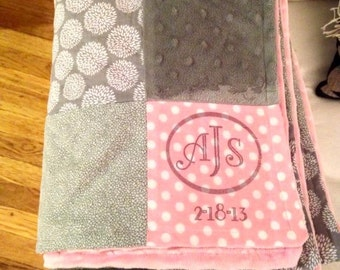 Patchwork Pink and Gray baby blanket, Minky baby Blanket, Pink Baby Blanket, Gray Baby Blanket, Baby Blanket, personalized baby blanket