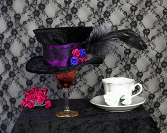 Purple Victorian Velvet - Mini Top Hat