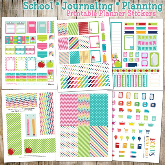 School - Planning - Journaling Printable Planner Stickers - 6 Full Pages!  (Made to fit Erin Condren, Plum Paper, Filofax, & other planners)