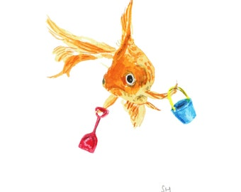 goldfish print - Goldfish at the seaside, seaside art, goldfish watercolor print, goldfish illustration print, goldfish print, goldfish art