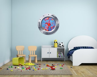 Jellyfish Porthole Vinyl Wall Decal - Jellyfish Decal