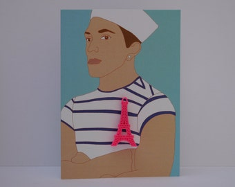 Eiffel Tower brooch, Sailor. Greetings card. 5 Brooch colour ways