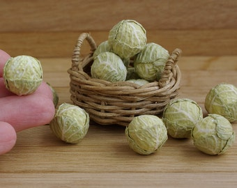 Miniature vegetables - cabbage  1:12. Miniature cabbages in a dollhouse. Miniature food.
