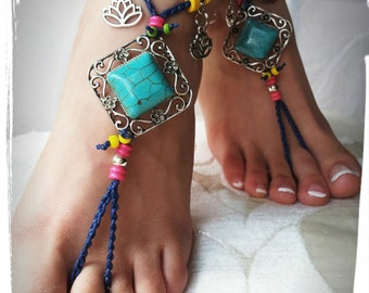 Barefoot SANDALS turquoise hippie, beach party, Bohemian, anklet barefoot yoga, toering, free shipping handmade Italy