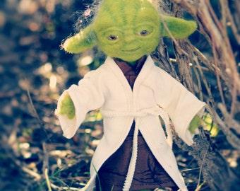 Plush wool felted Yoda