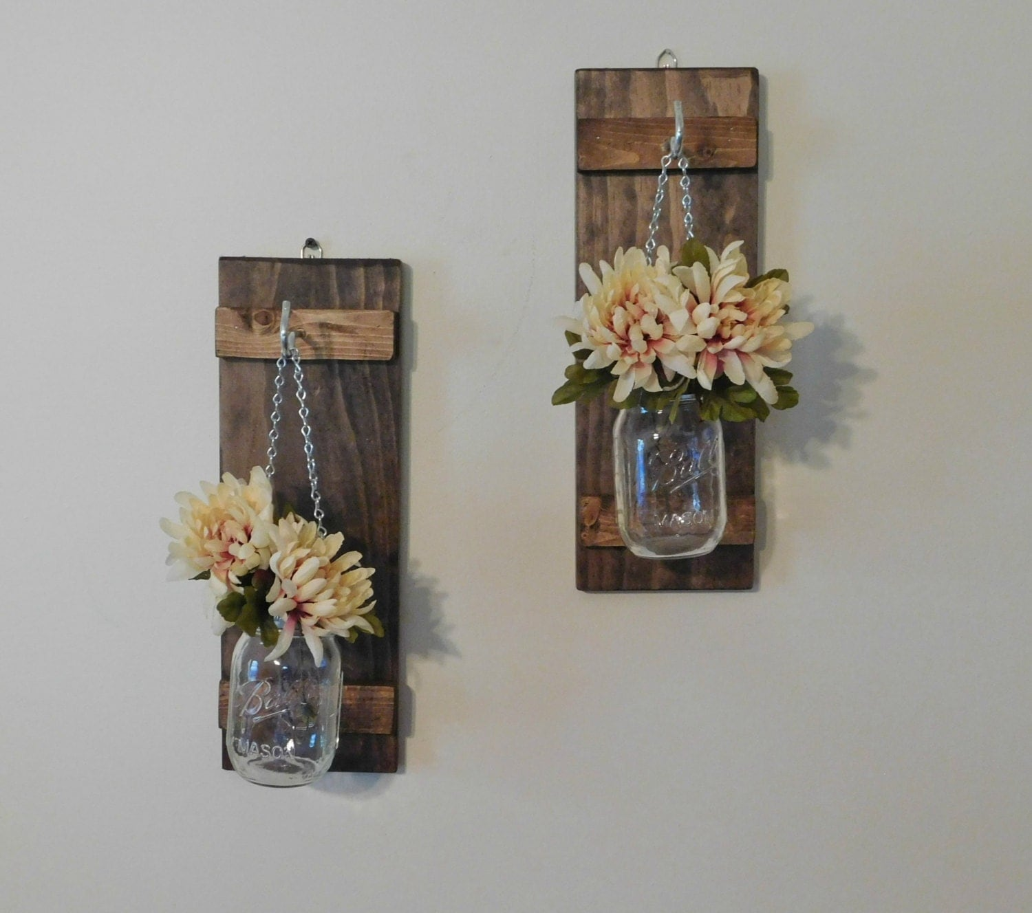 Wall Sconces That Hold Flowers: Hanging Mason Jar Wall Sconce Flower Vase Candle Sconce Wall