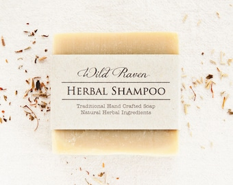 Herbal Shampoo Bar // Handmade with All Natural Herbal Ingredients // Traditional Cold Process // Unscented Soap for Hair // Palm Oil Free