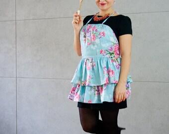 Floral apron, cotton apron, Apron Oh Lala