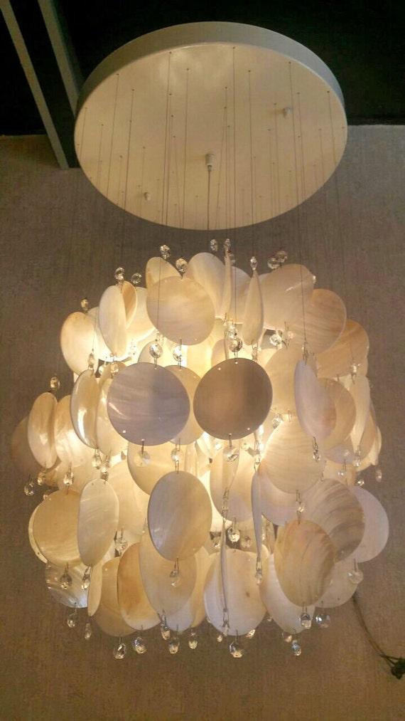 capiz shell disc shell chandelier shell pendant light shell fixture. Black Bedroom Furniture Sets. Home Design Ideas