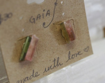 Pink & Green Tourmaline Gemstone Studs - Healing Earrings