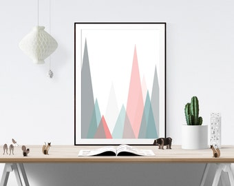 Mountain Print // Scandinavian print, Scandi Design, Scandi, Pastel Print, Scandinavian Design, Modern, Motivational, Inspirational Art,