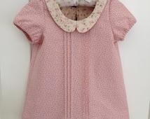 Girls Top Size 3 Years / Peter Pan Collar Top / Tilda kids clothing  / Peter pan collar / 3T