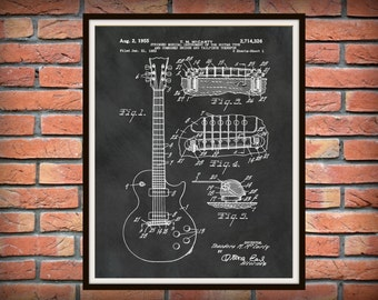 Patent 1955 Gibson Les Paul Guitar Designed By T. McCarty- Rock Band Instrument - Music Room Art - Orchestra Art - Electric Guitar Patent
