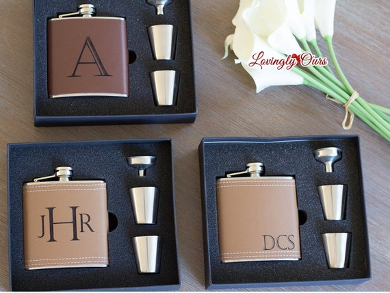 Groomsmen Gift Personalized Groomsmen Flask - Leather Hip Flask Gift ...