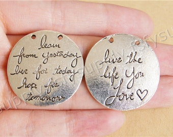 Live the life you love charm pendant,29mm Double Sided Pendant,Engraved Antique Silver Supplies,DIY Supplies