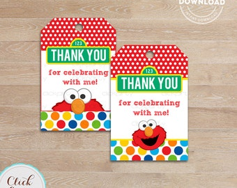 Elmo Favor tags, Gift tags, Thank you tags, Sticker tags, Party Decorations, Birthday Printables, INSTANT Download