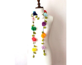Multicolor Flowers with Green Leaves Hand Crocheted Lariat Necklace, Bracelet or Belt