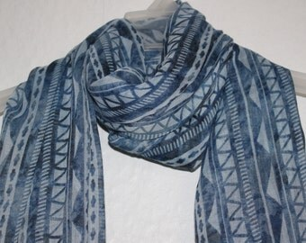 Blue Geometric Scarf, Geometric Pattern Scarf, Blue Scarf, Spring Summer Autumn Scarf, Womens Gift, Blue Accessories, Scarves, Fashion