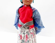Vintage Navajo Doll, Tewa Doll, Small Plastic Doll, Brown Eyes, 1950's Collectible, Homestead Doll, Diorama Collage Supply