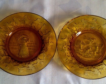 Nursery Rhyme Plates. Tiara Amber Glass Nursery Rhyme Plates-Set Of Two. Little Bo Peep And Hey Diddle Diddle. 1970's