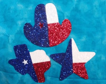 TEXAS Christmas ornaments. Texas, Star or Hat. Red white blue glitter paint. 5 in. tall. Priced separately