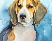 Beagle Art PRINT from original watercolor, A4  21 x 29.7 cm (8,3 x 11,7 in) Gift under 20 Dollars