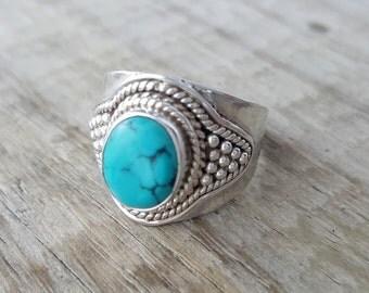 Turquoise Ring - Gemstone Ring - Statement Gypsy Boho Ring - Turquoise Ring Sterling Silver Ring - Tibetan Nepal Turquoise Jewelry