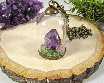 Terrarium necklace, crystal pendant, amethyst necklace, crystal terrarium, moss necklace, crystal terrarium necklace