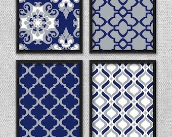 Printable Art Set, Navy and Gray Art, Printable Art, Damask Art, Digital Art Prints, Kitchen Art, Bedroom Art, Home Decor