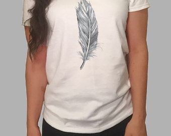 Feather Shirt - White/Gray Women's T-Shirt