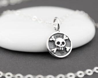 Tiny Silver Skull and Crossbones Necklace, Sterling Silver Skull Necklace, Skull Jewelry for Women, Silver Skull Charm, Pirate Skull