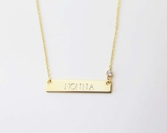 Valentines day Personalized Gift for Her /Personalized Monogram and Name Necklace with CZ charm