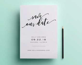 Modern Save the Date / Printable Save the Date / Digital Files Only /Modern Calligraphy  / 5x7