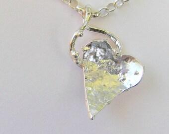 Sterling silver heart pendant, OOAK silver heart, reticulated silver heart pendant, textured heart pendant, silver heart pendant, handmade