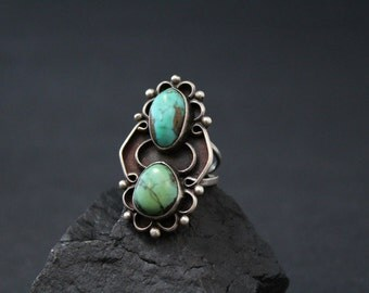 Sterling Silver Native American Turquoise Navajo Old Pawn Long Ring